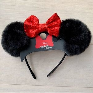 Disney Minnie Mouse Furry Headband Red Bow Sequin